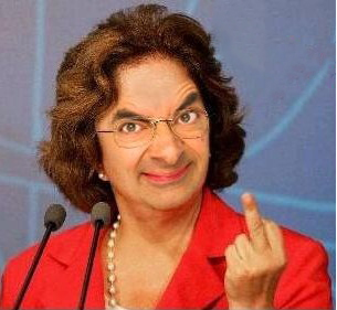 Face Mr. Bean mostrando dedo Dilma