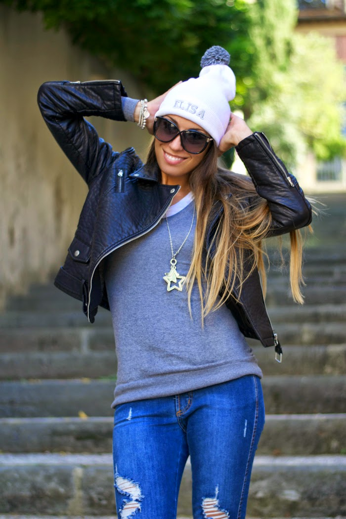 maglione jeans giacca pelle