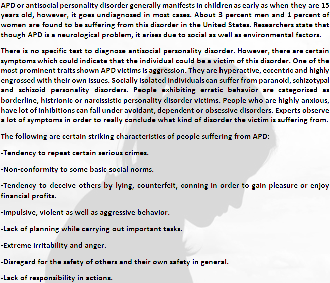 Symptoms Of Antisocial Personality Disorder