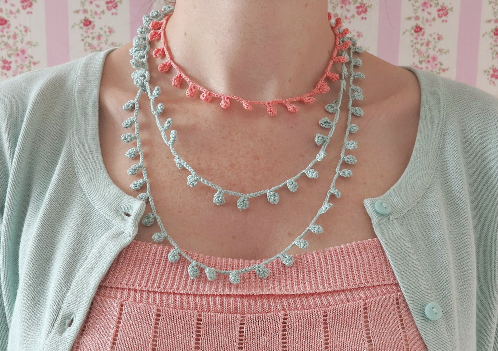 byHaafner, crochet, necklace, pastel