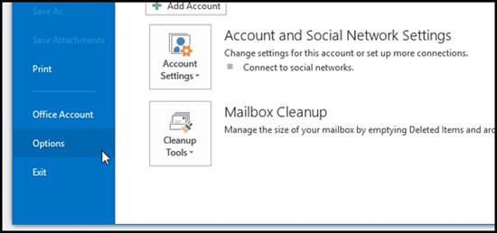 Bật nhắc nhở đính kèm file khi gửi mail của Outlook 2013 2