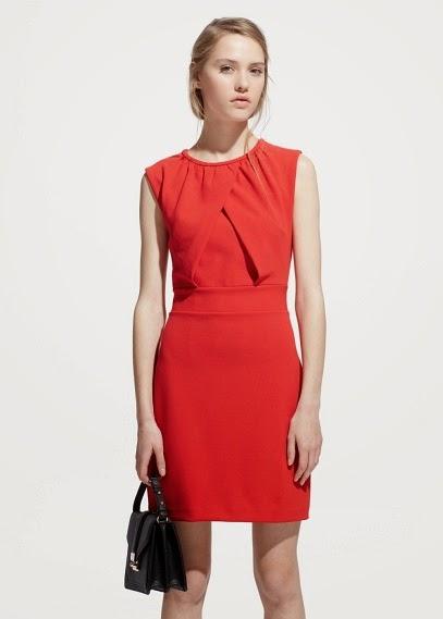 Mango 2015 Elbise Modelleri  kırmızı düz kesim peplum elbise, ofis ve yaz için uygun klasik tarz