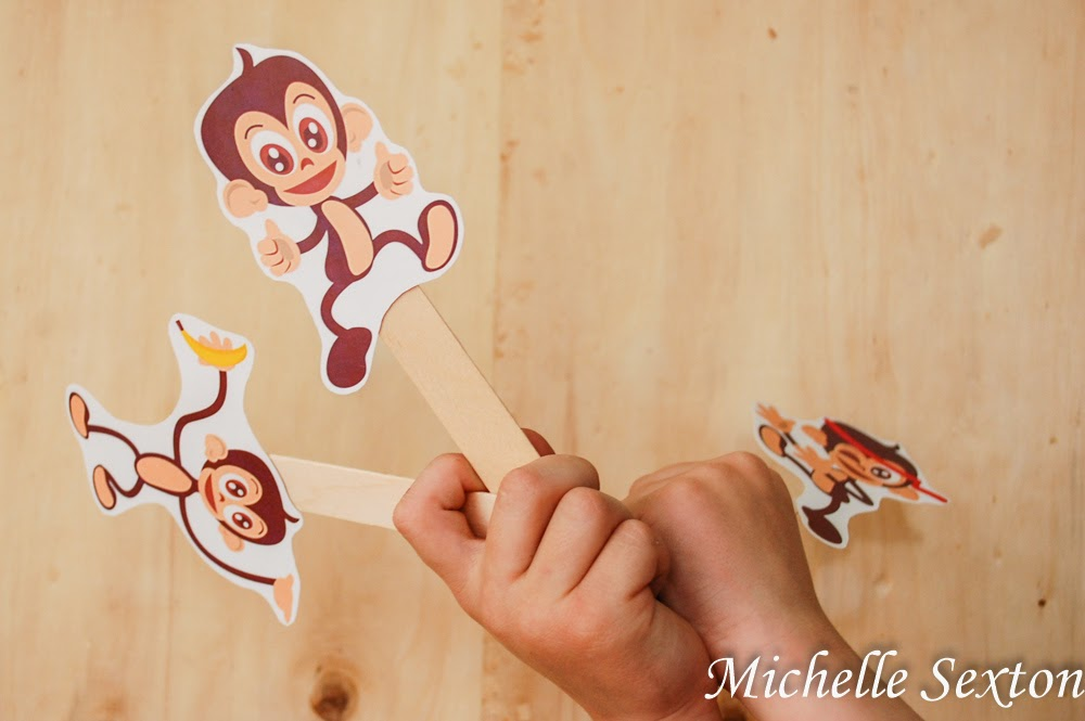 Free Printable Monkey Puppets - find them at SoHeresMyLife.com - click through and get them now