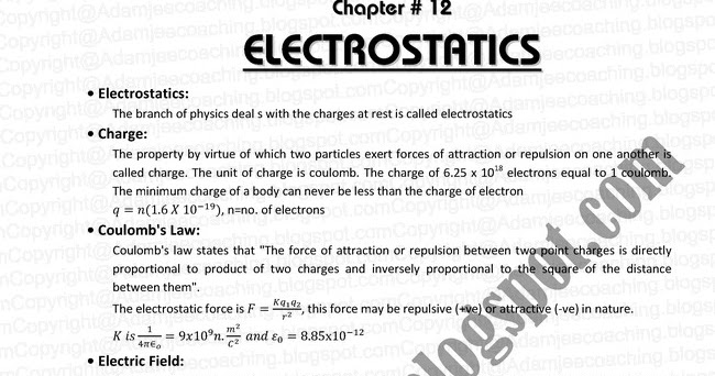 physics 12 electrostatics notes Hey guys, these are the notes for electrostatics if you do these notes properly then you don't have to worry about your theory portion at all you can skip .