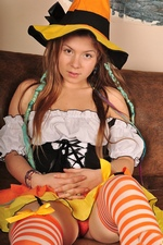 Adorable little teenage witch Emily 18 is ready to go trick or treating!