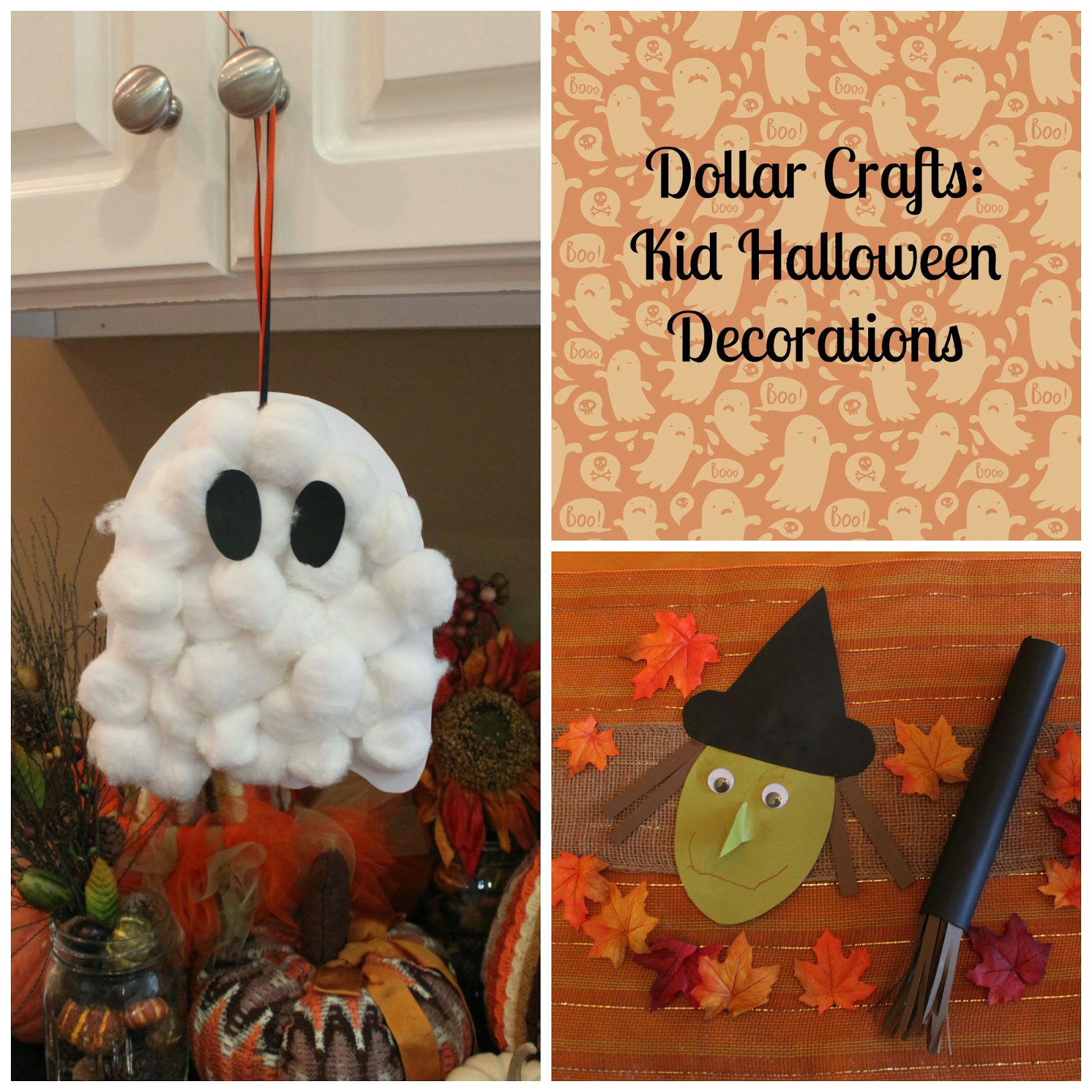 avas kindergarten halloween party that i didnt have anything planned sidney really wanted to make a ghost and a witch heres what we came up with - Kid Halloween Decorations