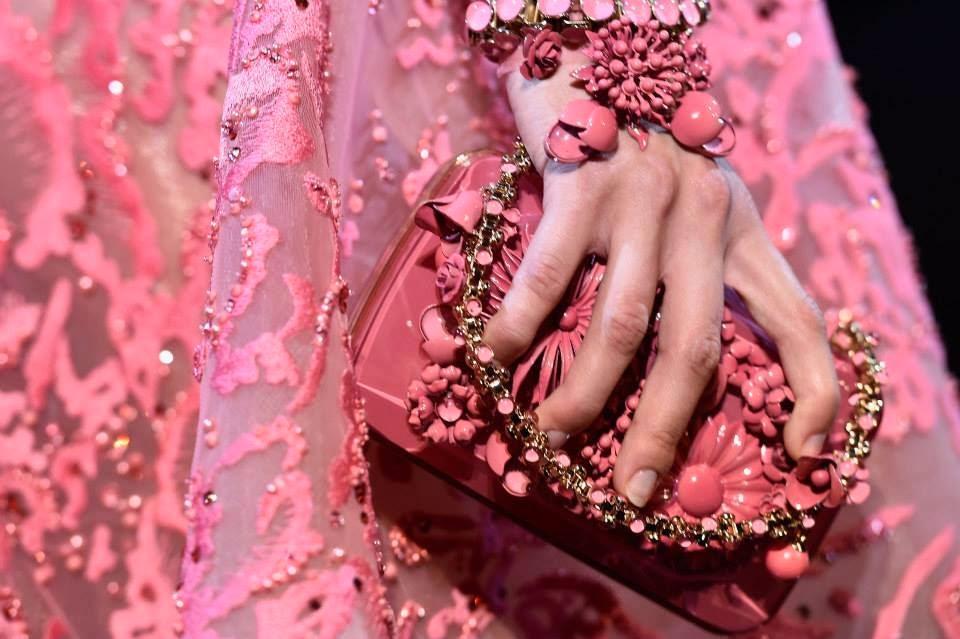 elie saab fall winter 2014-2015 handbbag pink