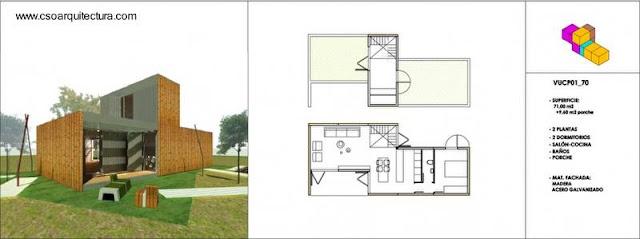 Infografía de un modelo de casa prefabricada modular