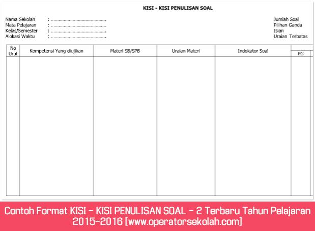 Contoh Format KISI - KISI PENULISAN SOAL - 2 Terbaru Tahun Pelajaran 2015-2016 [www.operatorsekolah.com]