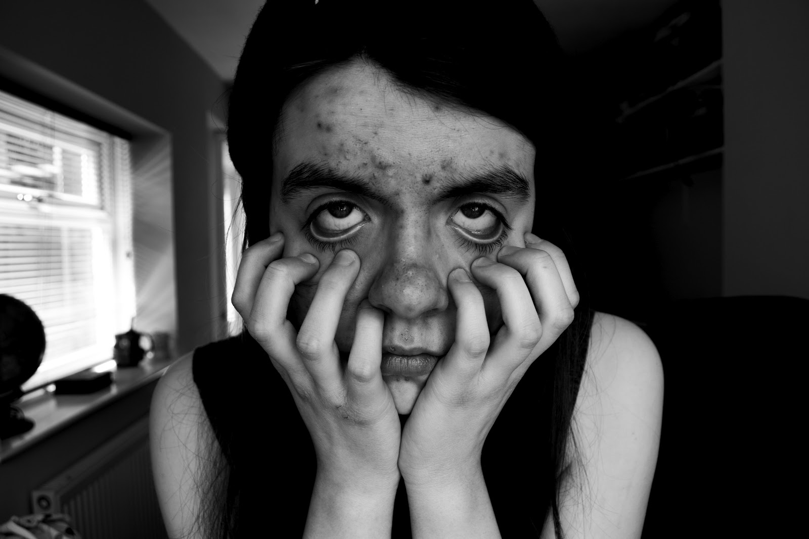 I Took This Image For My Self Portrait Assignment Because Idea Was Just To Take Portraits In Black And White With Different Emotions Feelings