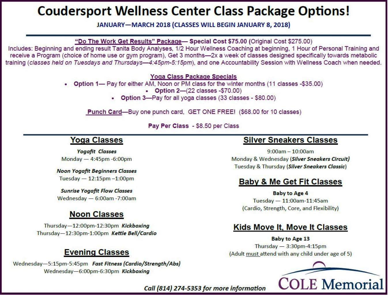 Coudersport Wellness Center Packages
