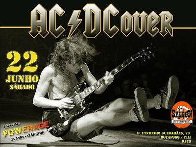 Cartaz da banda AC-DCover, que toca dia 22/6 no Saloon 79