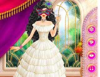 Juego de vestir a la princesa del baile de mascaras