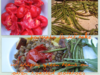 Collage of Tomato-Lentil Bake and ingredients.