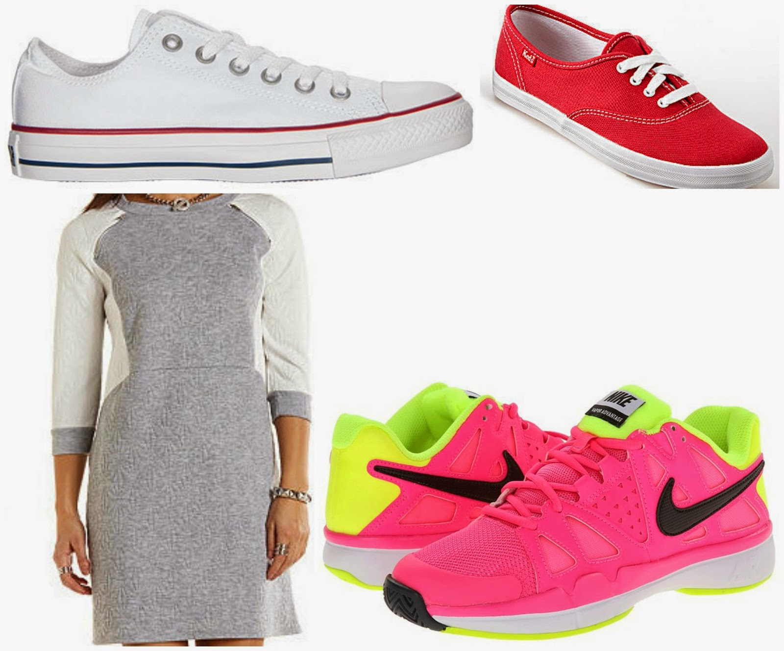keds converse sweatshirt dress neon tennis shoes
