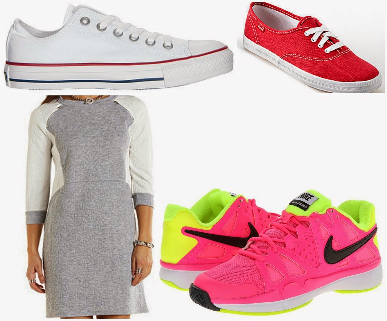 keds converse sweatshirt dress neon tennis shoes