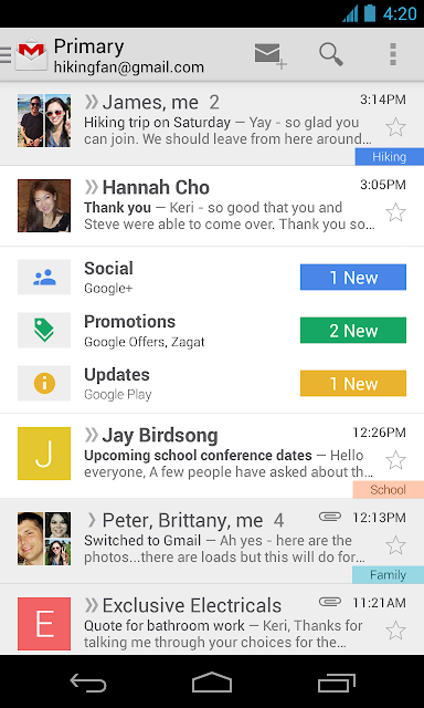 gmail on iOS devices gets an facelift with the version 4.5
