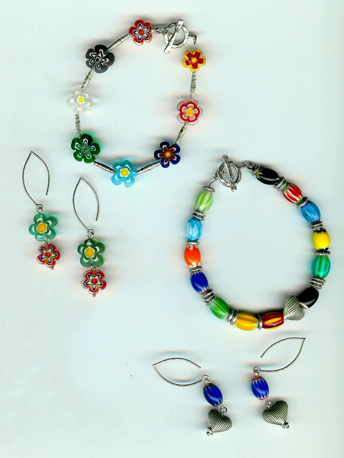 224. Millefiori Glass and Tahi Serling Silver