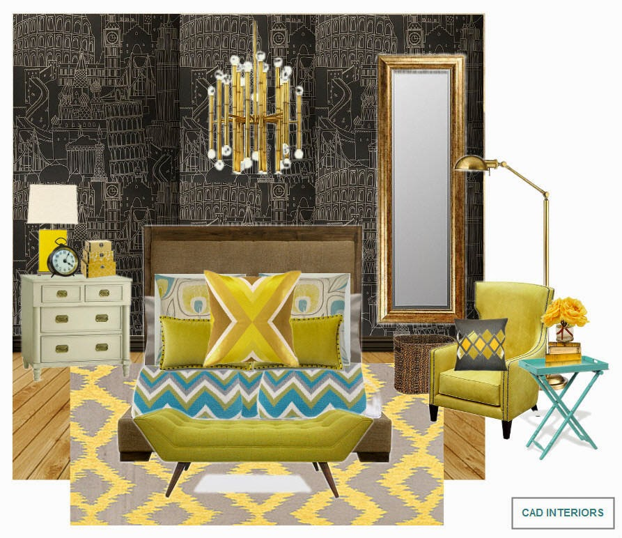 I Used Lemon As A Dominant Accent Color In This Bedroom Design It Is Complimented By Contrasting Teal The Vibrant Yellow And Accents
