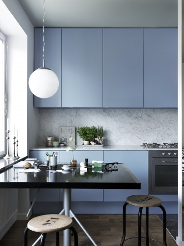 cornflower blue kitchen marble slab backsplash counters countertops modern design small space home