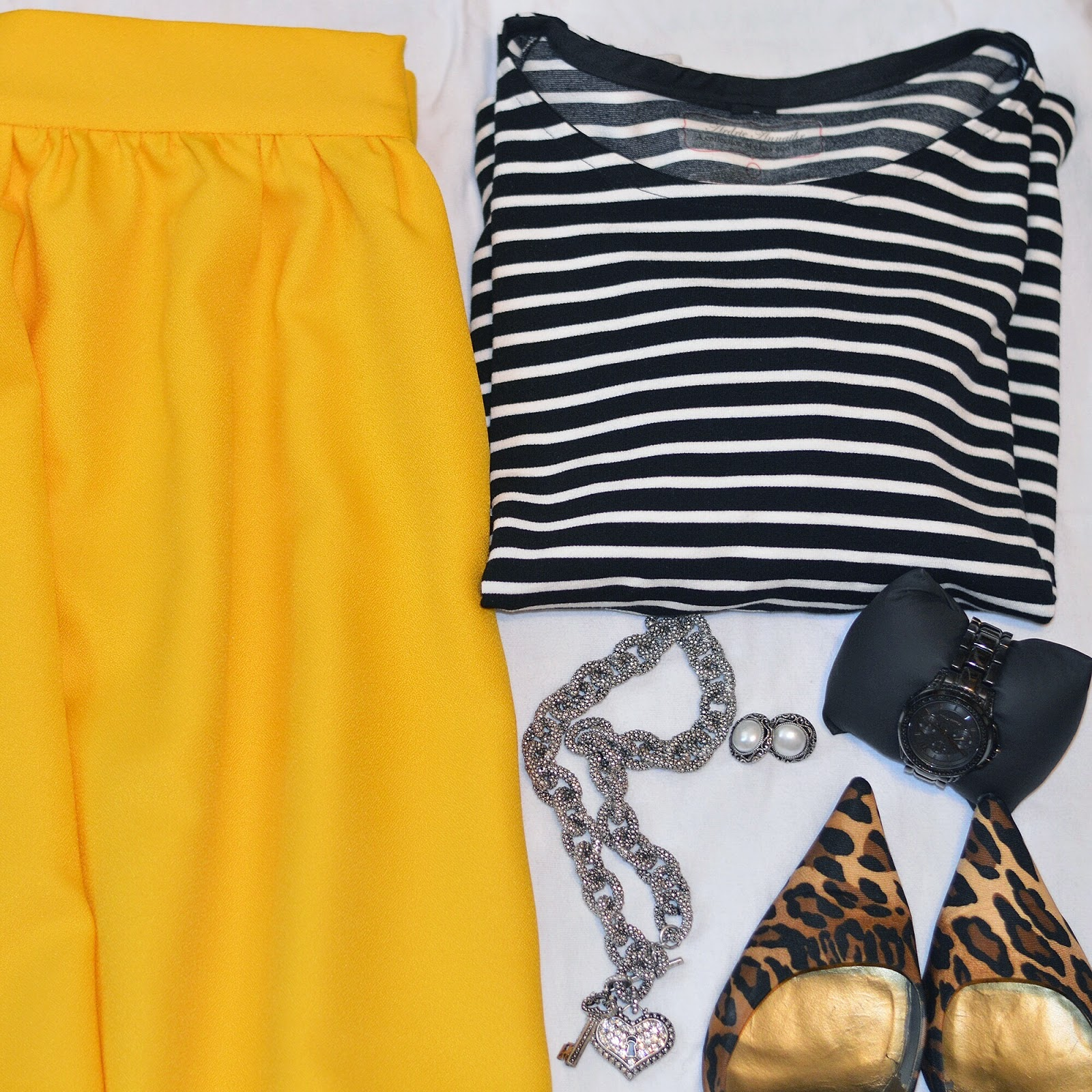 Rhianna's Studio styling a DIY top and Yellow skirt leopard print DIY