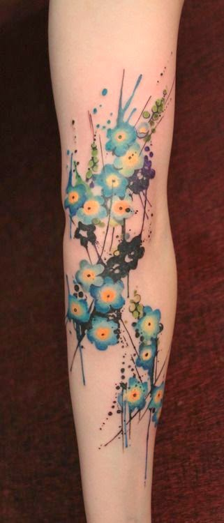 Watercolour floral arm tattoo: Tattoo Trends - Flowers