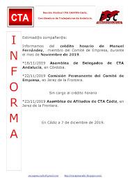 C.T.A. INFORMA CRÉDITO HORARIO MANUEL FERNANDEZ, NOVIEMBRE 2019