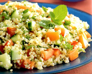 Tabouleh: A classic Middle Eastern salad of bulgur (cracked) wheat with mixed herbs, vegetables and pine nuts served as a salad or accompaniment