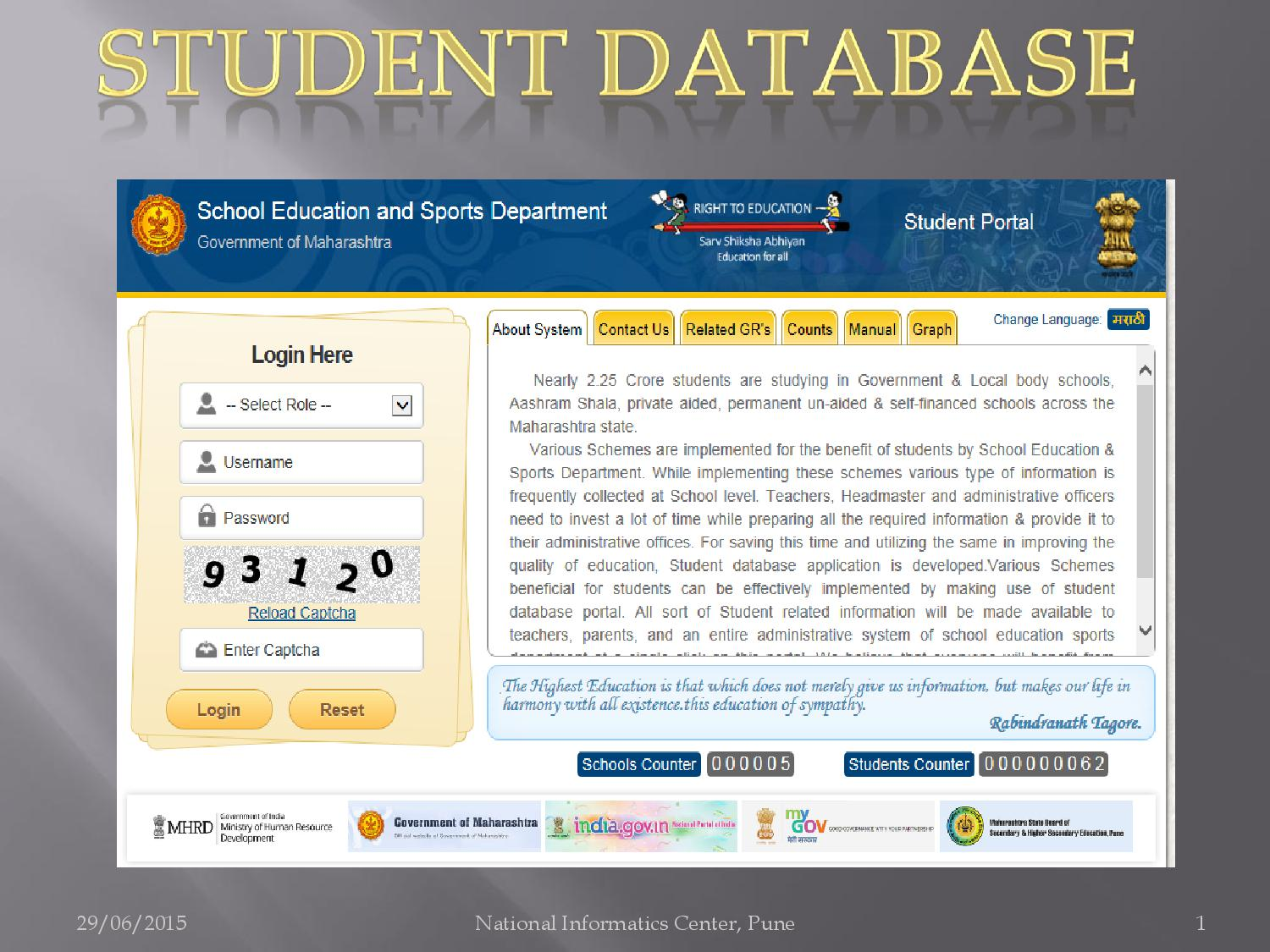student database Student data system provides real time access to student grades, attendance, and progress use of the newest java technologies makes our system the clear winner in speed, reliability and ease of use.