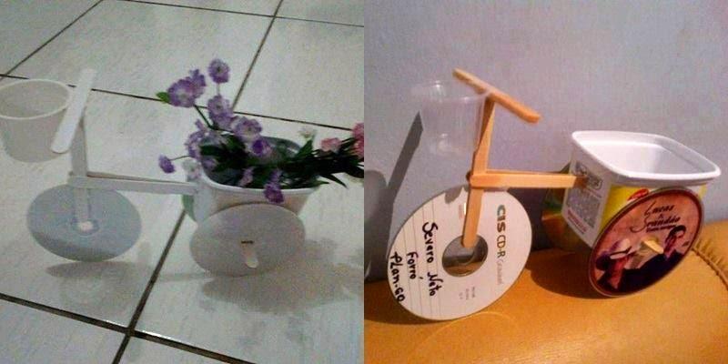 enfeites para jardim reciclados:Essa floreira a imagem já explica a montagem