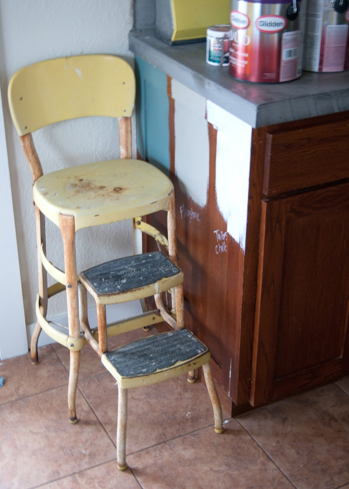 Picking a Cabinet Color + how to prep for new hardware - vintage yellow stool