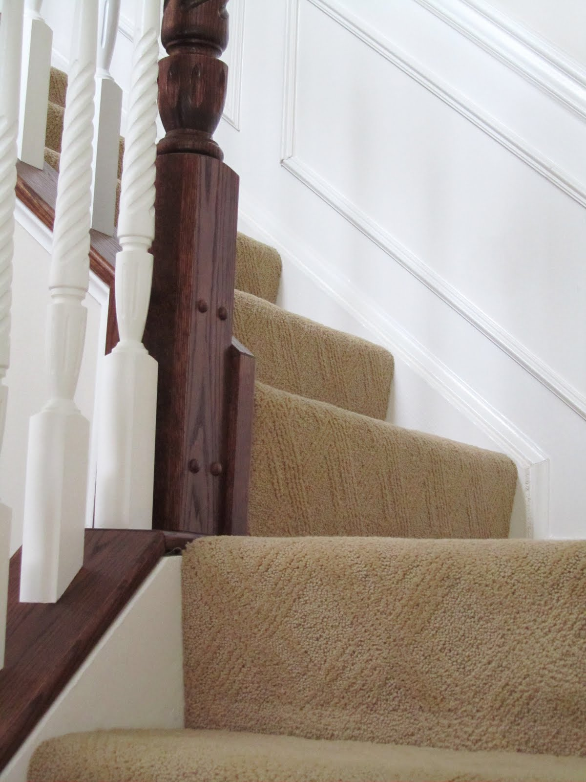 Our staircase before the wood steps were added carpet by ralph lauren