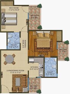 The Romano :: Floor Plans,Type A:-Super Area - 1020 Sq. Ft.