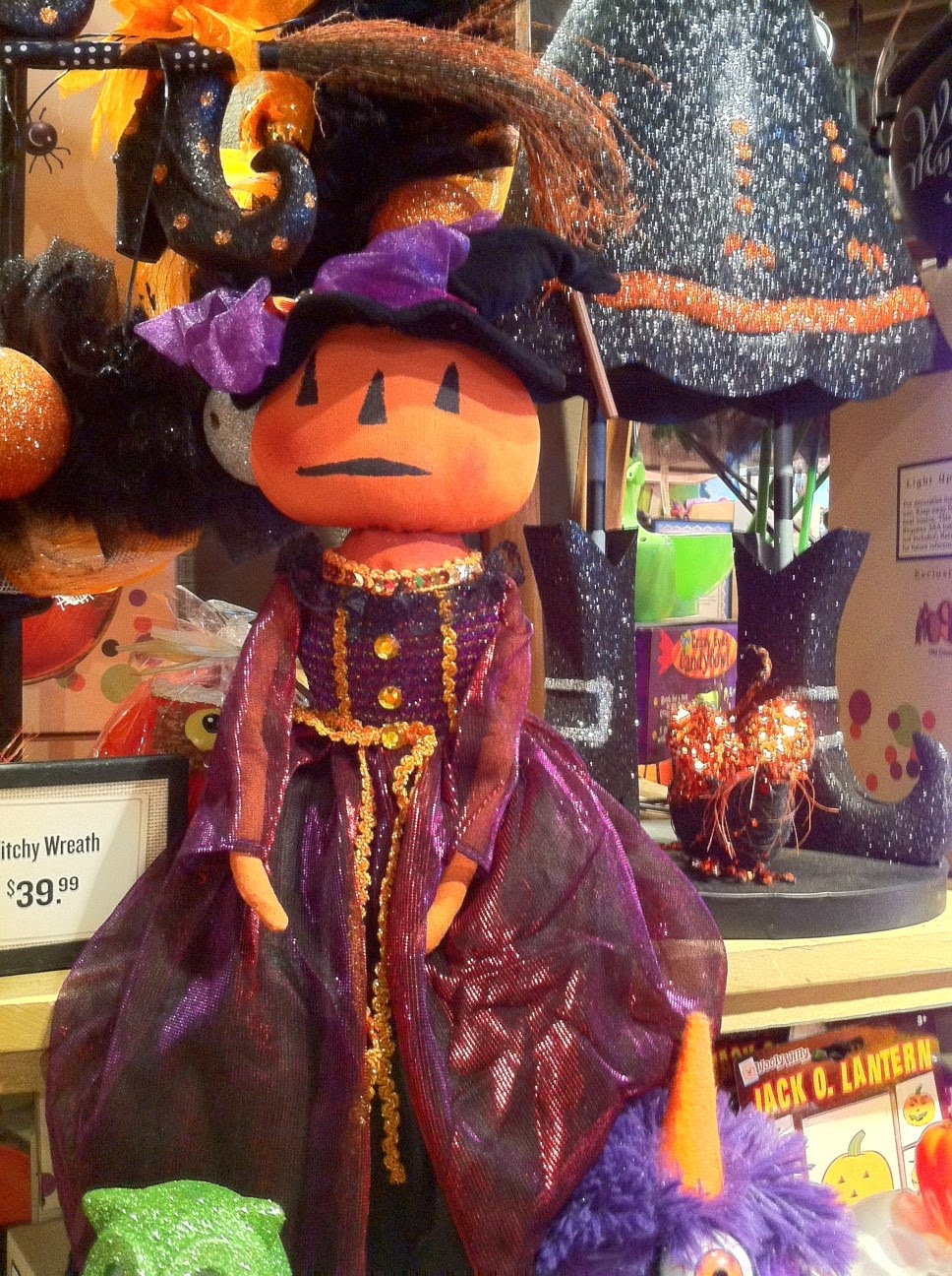 cracker barrel has a variety of halloween decorations and gift items out including some of the items shown here the pumpkin and witch figures and the neat