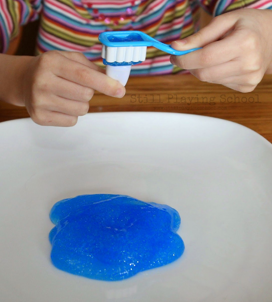 Toothpaste slime for dental health month still playing school our preschooler is interested in loose teeth since she has a few wiggly already and the tooth fairy is visiting her friends she pulled the pretend teeth ccuart Images