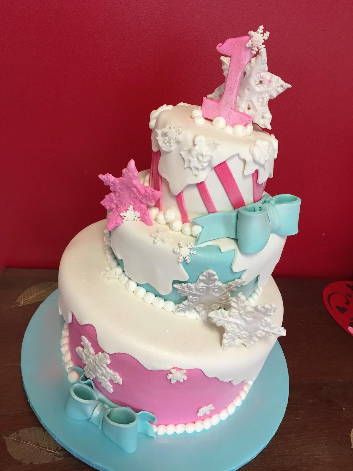 Baking With Roxanas Cakes 1st Birthday Cake Winter Wonderland Themed