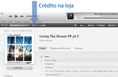 Onde ver no crédito na loja iTunes EUA