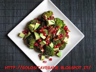 avocado, broccoli, Contorni, gomasio, limoni, melagrana, noci pecan, ricette vegan, vapore,