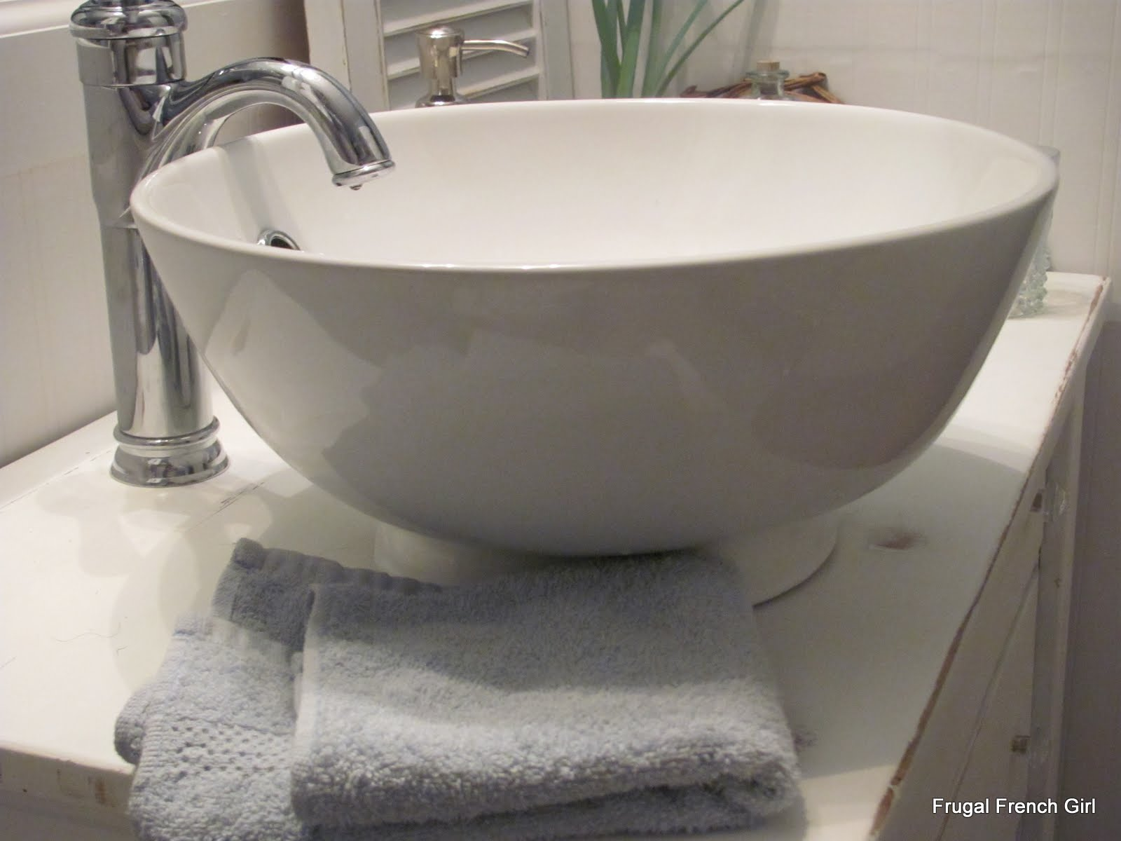 White Beadboard Bathroom with Vessel Sink