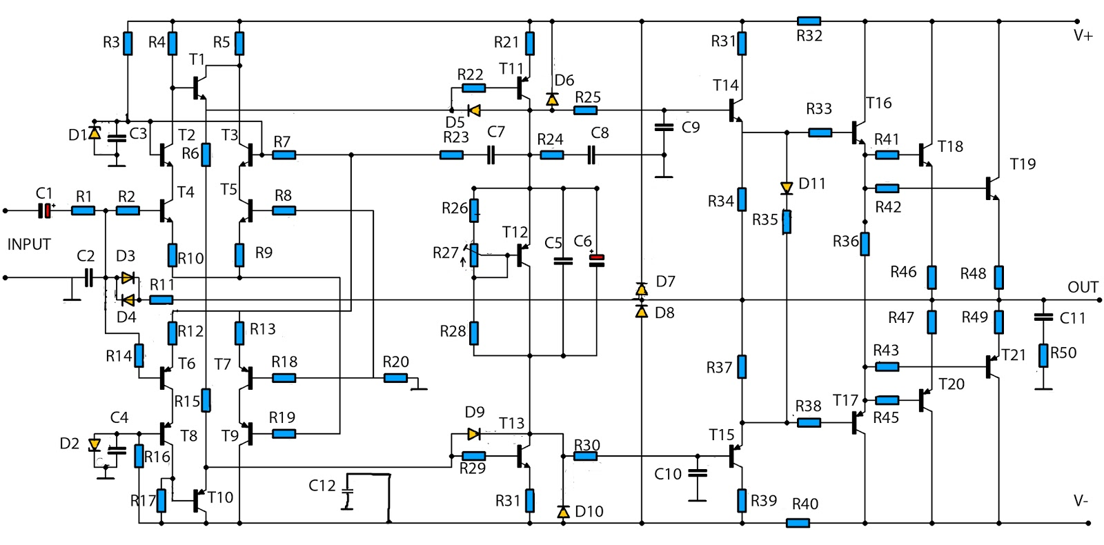 1500w Power Amplifier Circuit And Components Layout - 2800w High Power Audio  Amplifier Circuit Diagram -