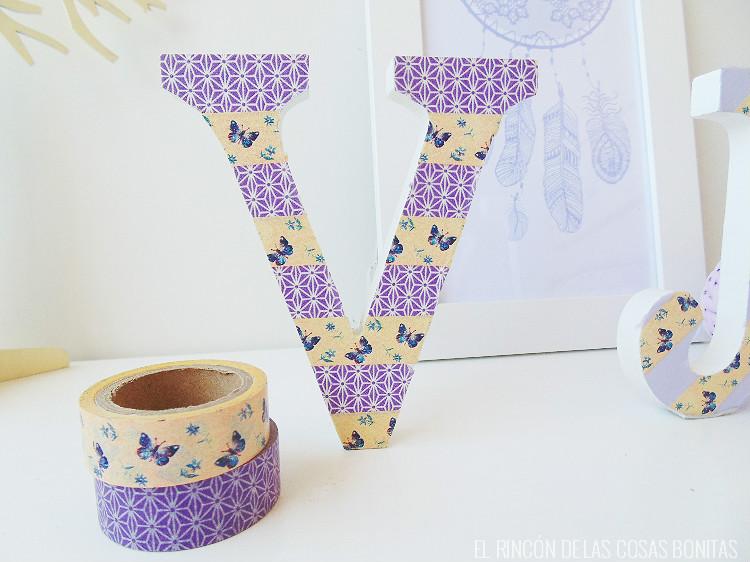 Letras decoradas con washitape el rinc n de las cosas - Ideas para decorar letras de madera ...