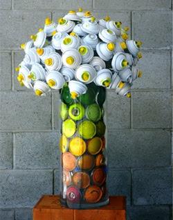 arreglo floral productos reciclados