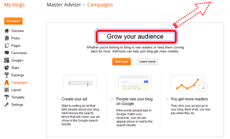 New Feature In Blogger: AdWords Campaign - Grow Your Audience