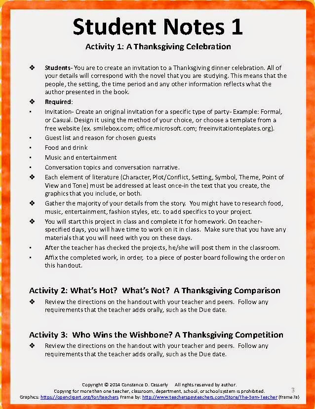 Activity 1: A Thanksgiving Celebration
