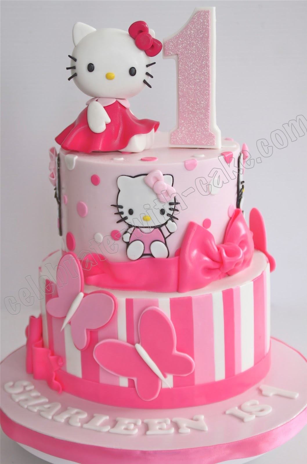 celebrate with cake 1st birthday hello kitty tier cake. Black Bedroom Furniture Sets. Home Design Ideas