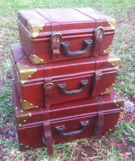 suitcases before painted