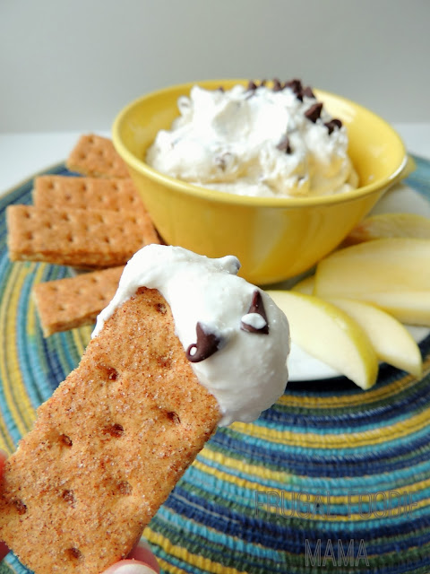 This creamy Skinny Chocolate Chip Cannoli Dip is sure to satisfy your sweet tooth minus the guilt