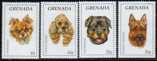 1995年グレナダ チワワ コッカー・スパニエル ロットワイラー ジャーマン・シェパードの切手