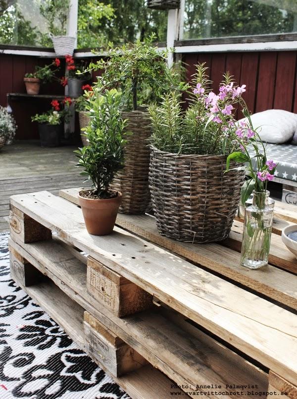 altan, lastpallar, soffa av lastpall, bord av lastpall, svartvit matta från rusta, mönstrad plastmatta, svart och vitt, blommor i krukor, blomma, pelargon,