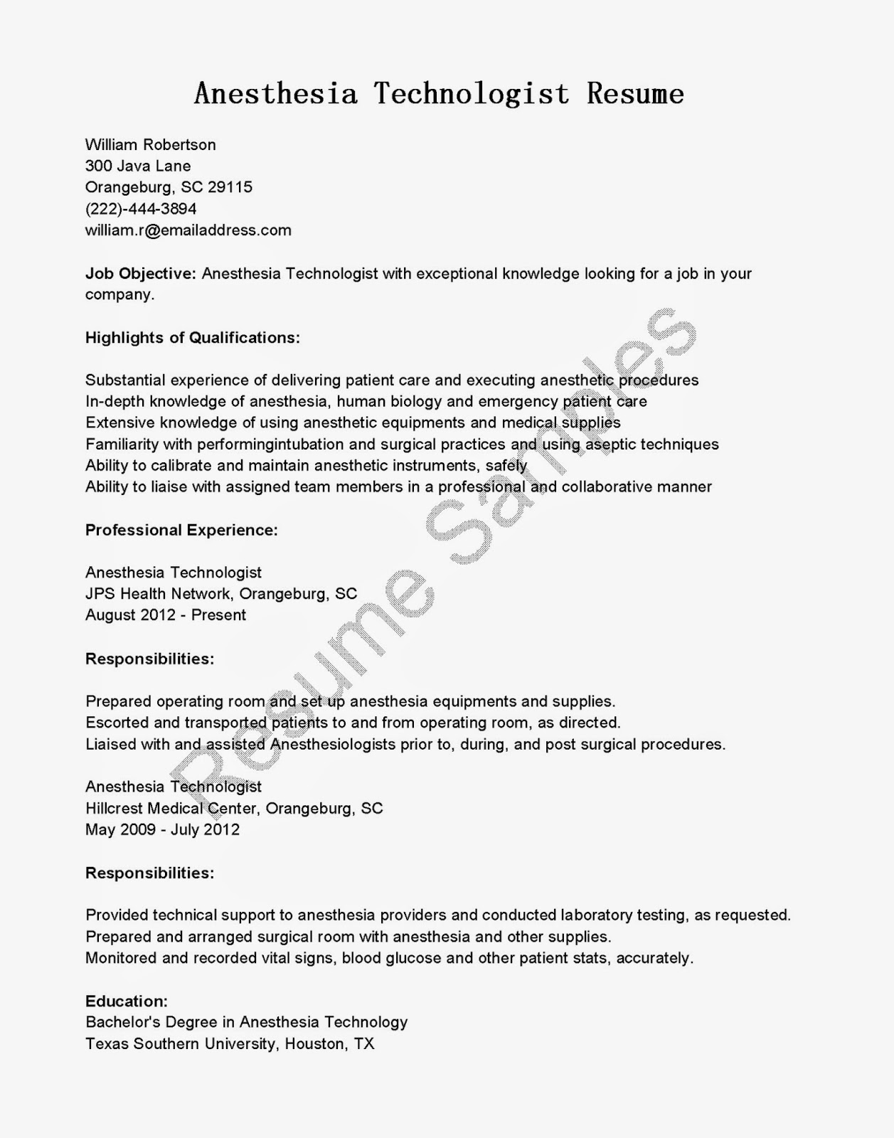 Resume Samples Anesthesia Technologist Resume Sample